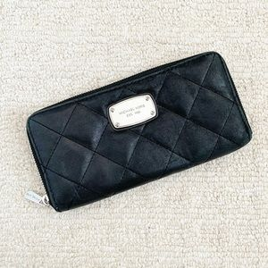 Black quilted leather Michael Kors wallet